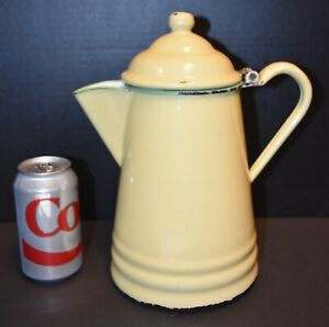 "Vintage Enamel Graniteware Yellow Cream Green Trim Large 11"" Coffee Pot!"