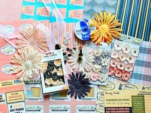 Retro Rusty Pickle Mom/Grandma + Prima Flowers Mega Scrapbook Paper Craft Lot