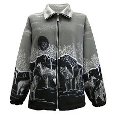 New  Womens Double Fleece Animal Print Jacket With Pockets Soft & Warm