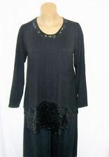 Ophilia: Lagenlook Shirt schwarz mit Spitze A- Linie Langarm Gr. 3 - (46 - 48)