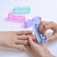 4Pcs Plastic Handle Grip Nail Dust Brush Fingernail Scrub Cleaner Pedicure new