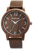 Excellanc Herrenuhr Braun Holz Kunst-Leder Quarz Armbanduhr D-2900199003