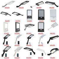 Solar 48/56 LED Street Wall Light PIR Motion Sensor Outdoor Garden Dimmable Lamp