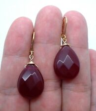 Faceted Ruby Red Chalcedony Gold Earrings ---- Leverbacks    A1229
