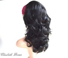 Sweet Layers Off Black Med Long Curly 3/4 Wig Half Wig 066