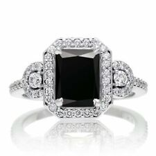 Engagement 2.50Ct Ring 925 Sterling Silver Halo Black Emerald Cut Cubic Zirconia