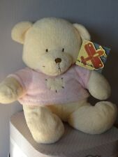 DOUDOU OURS CREME PULL ROSE AVEC COEUR  30 CM NICOTOY THE BABY COLLECTION