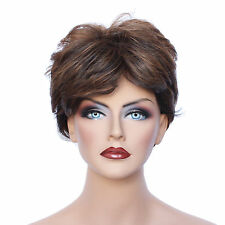 Classic Cap women Synthetic Curly Wavy Short Dark Brown full wig HengFeng SHL21