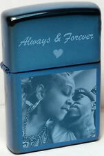 Authentic Engraved Saphire Zippo Lighter with Free Photo, Text Engraving +Flints