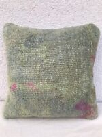 Small Oushak Rug Cushion Cover, Muted Color Low Pile Sofa Bed Pillow 12''x12''