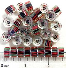 40 Red Green Dark Purple Blown Furnace Cane Glass Round Stripe Slice Disc Beads