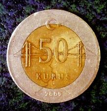 Turkey 50 Kurus 2009 Monetary Reform Bi-Metallic Uncleaned 'Nice Details'