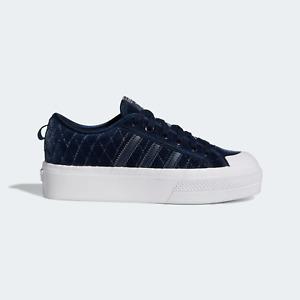adidas Originals Women's Nizza Platform Shoes in Luxe Velour Blue