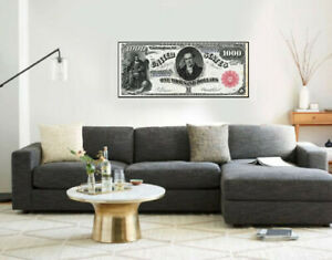 """Large Poster $500 Clinton Note (Columbus) 16""""x 40"""" Printed on Canvas"""