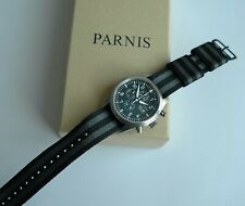 Parnis Chronograph day/date Quarts watch with 22mm Zulu diver strap, new