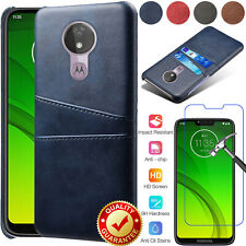 For Motorola Moto G7 Power Supra Plus Leather Card Wallet Case+Tempered Glass
