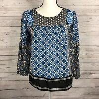 Ann Taylor LOFT Womens Blouse Size Small Blue Black White Geometric Print