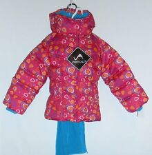 Vertical '9 Toddler Girls Hooded Winter Jacket & Scarf Set Pink Hearts 4T NWT