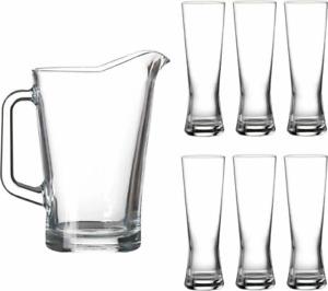Lucente 7PC Clear Drinking Glass 1.8Lt Pitcher Jug Set 6 Drink Glasses 300m Set