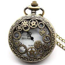 Reloj De Bolsillo aseado bronce de bronce 48mm Estilo Vintage Steampunk Grabado Con Cadena