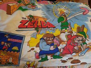 Vintage 1988 Nintendo Legend of Zelda Super Mario Brothers Twin Flat Sheet