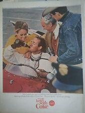 1965 Coca Cola Bottle  Race Car Driver Jean Jacket Flag Racing Original Print Ad