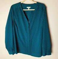 Croft & Barrow Women's Top Size 1X Blouse Dark Teal Blue Long Sleeves Casual