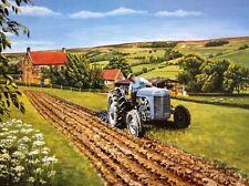 BEAUTIFUL PRINT PICTURE PAINTING TRACTOR GREY FERGUSON TE 20 PLOUGH FARM CROPS