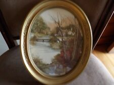Home Interior Oval Gold Framed Wall hanging Cottage Lake vintage