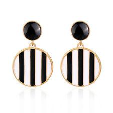 Latest Popular European Black White Drip Oil Dangle Round Earrings Jewelry