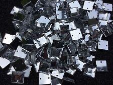 100 x Clear Sew on Acrylic Square Diamante Crystal Gems Rhinestone 10mm