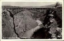 Crooked River Bridge Oregon USA vintage postcard ~1920/30 Gorge Schlucht Brücke