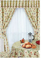 Pair of Gingham Check Kitchen Cotton Curtains Plus Tiebacks Check Butterfly Fruits 46 X 48 Inches