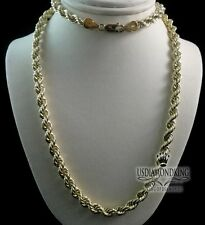 MEN'S WOMEN'S AUTHENTIC 10K YELLOW GOLD HOLLOW ROPE CHAIN 24 INCH 5MM 9.7 GRAMS