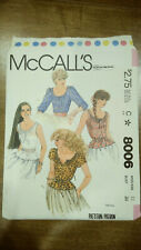 "New ListingVtg McCalls' Sewing Pattern 8006 Miss' Size 12 Bust 34"" Scoop Neck Tops"