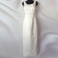 Ivory Satin Column Wedding Dress Veil Detachable Train Beads & Pearls Size 5