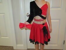 EUC!!  Custom Made Red 2-Piece Dance Costume - Size Girls 10-12 fit