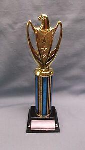 eagle trophy award blue column weighted black  base