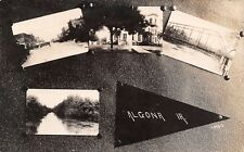 Algona Iowa~Multi Mini Vws~Courthouse~Main Street~Truss Bridge~Pennant~1920 RPPC