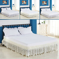 Bed Skirt Crochet Lace Ruffle Elastic Band Bedspread Twin Full Queen Easy On