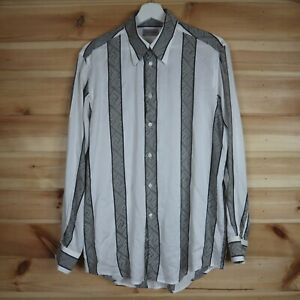 Vintage Versace Classic Shirt Silk Blend All Over Logo Baroque White Grey Large
