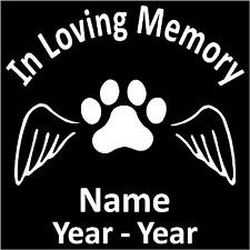 "In Loving Memory w/Paw Print and Wings Personalized Vinyl Decal/Sticker 5.5""H"