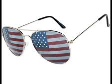 Global Eye-Wear American Flag Patriotic Aviator Sunglasses Gold Tone Metal Frame