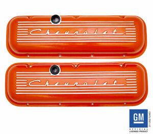 Chevrolet 396 427 454 502 Big Block Valve Covers with Raised Logo Orange PML
