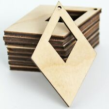 ALL SIZES (12pc to 100pc) Unfinished Wood Laser Pointed Diamond Cutout Earrings