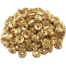 20 Perles Rondelle strass Doré 8mm Couleur Doré Creation Bijoux Collier
