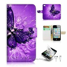 ( For iPhone 4 4S ) Flip Case Cover S8184 Purple Butterfly