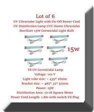 6 x UV Germicidal Lamp Light Ultraviolet Bulb Ozone T8-15W W/ On Off Power Cord