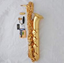 Professional Gold TaiShan Eb Baritone Sax Low A Saxophone ABALONE Key 2 Necks