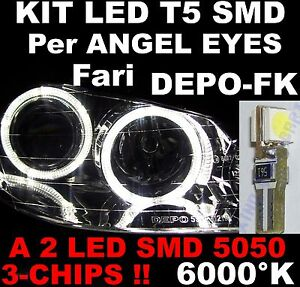 Lampadina LED T5 a 2 SMD 5050 BIANCO 6000 K Luci per fari ANGEL EYES DEPO FK 12V